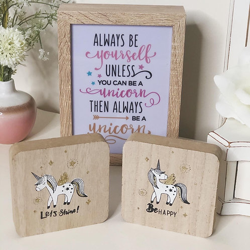 Set of 2 Mini Unicorn Wooden Plaques with glitter