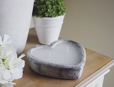 Cement Heart Shaped Candle