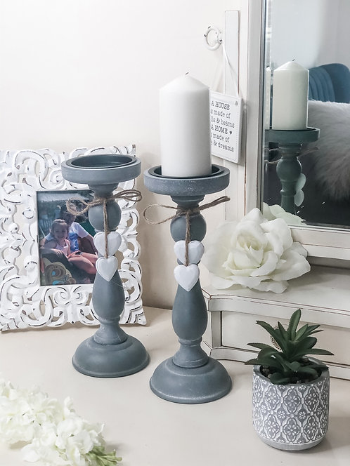 Grey Distressed Heart Candlestick