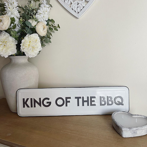 King of the BBQ metal sign