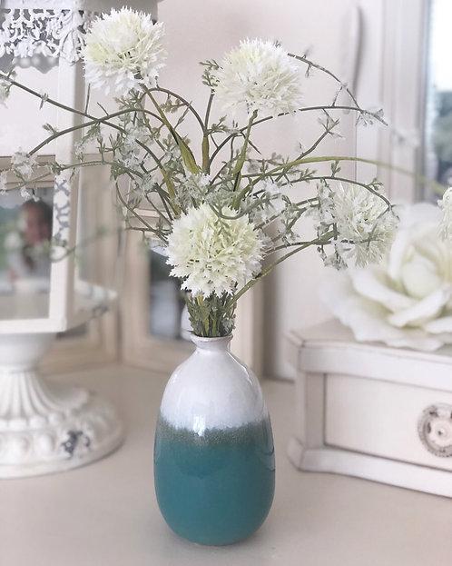 Turquoise Dip glazed Ombré bud vase