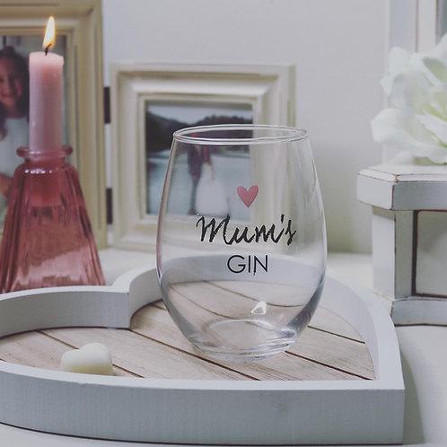 Mum's Gin Stemless Glass 💗