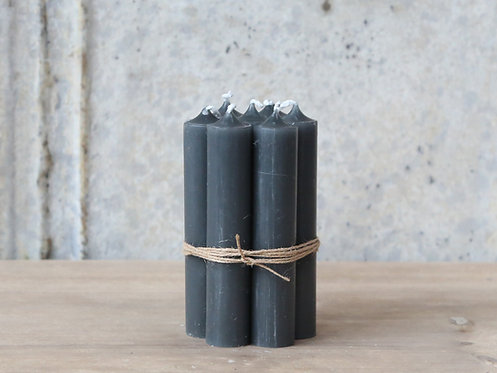 Bundle of 5 Coal Grey Short dinner candles
