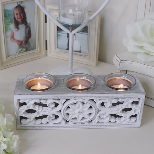 Carved Wooden Triple Tealight Candle Holder
