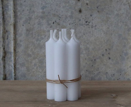 Bundle of 5 Classic White Short dinner Candles