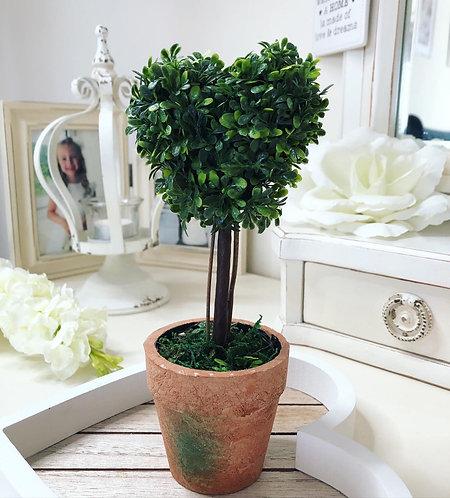 Faux Topiary Heart in Pot