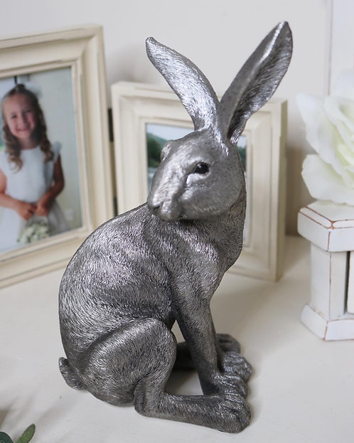 Silver effect Sitting Hare