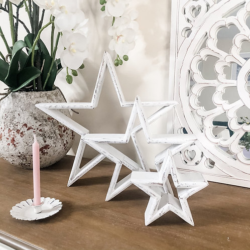 Set of 3 white Mango Wood Mantelpiece Stars