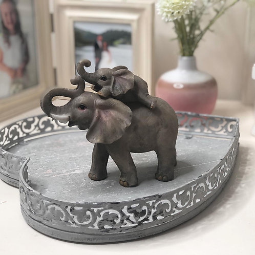 Elephant Adventure Mother and Baby ornament