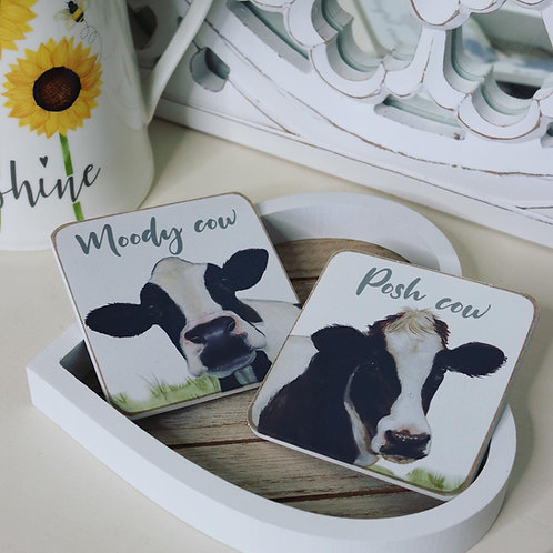 Set of 2 Cow Coasters