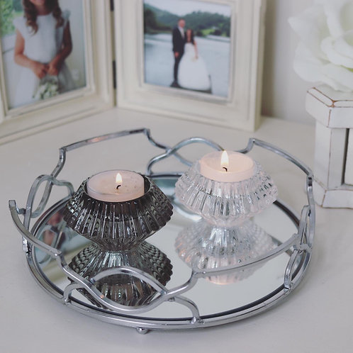 Glass Vintage style tealight candle holders