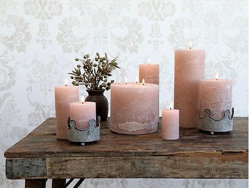 Rose Quartz Pink Rustic Pillar Candle