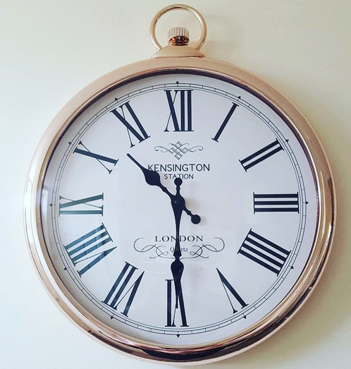 large copperrose gold wall clock pocket watch style