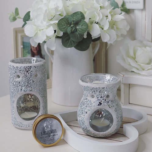 Silver Crackle Glass Wax Burner