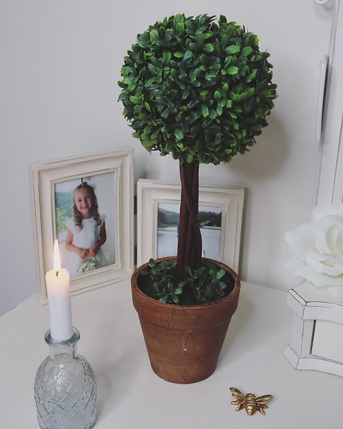 Faux Round Topiary Tree in Pot