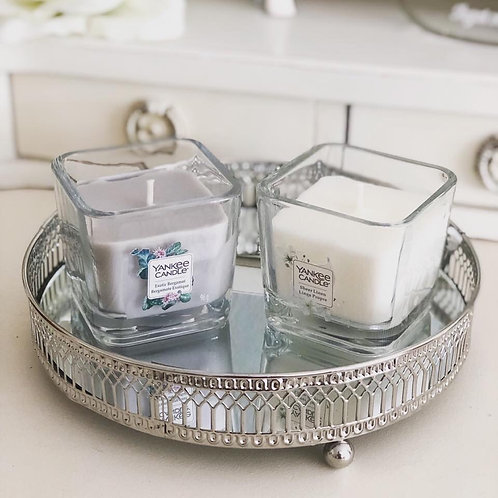Silver mirrored round candle tray
