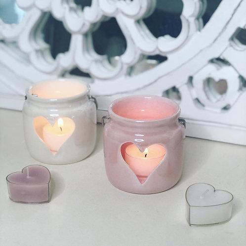 Set of 2 Porcelain Heart Lanterns