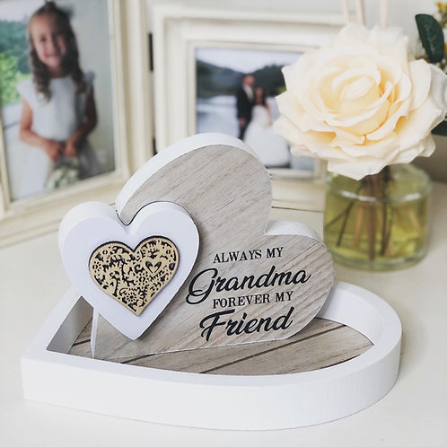Double Heart Wooden Plaque Nan/Grandma