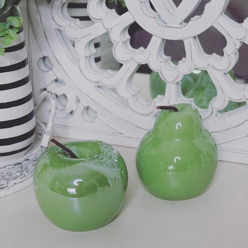 Green Ceramic Apple & Pear Set