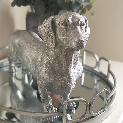 Antique Silver Daschund ornament