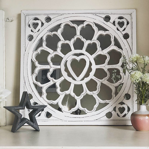 White Distressed Mirror Panel with heart detail