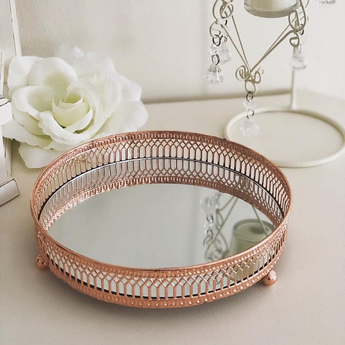 Copper Rose Gold mirrored round candle tray