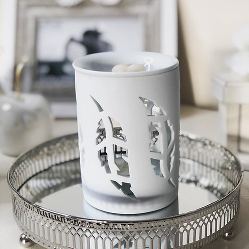 Ceramic White Feather Cut Out Wax/Oil Burner