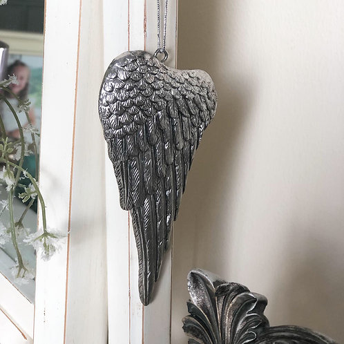 Antique silver Angel wing hanging decoration