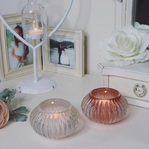 Set of 2 Chunky Glass Tealight holders