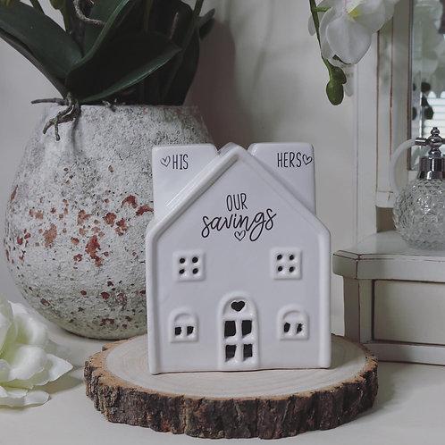 His & Hers White Ceramic House Savings Pot