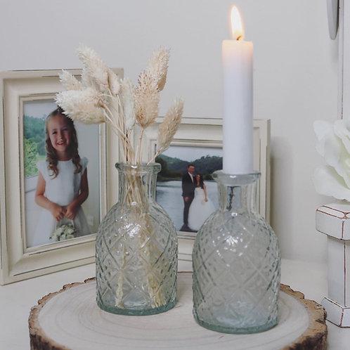 Harlequin Pattern Embossed Glass Bottle Candle Holder