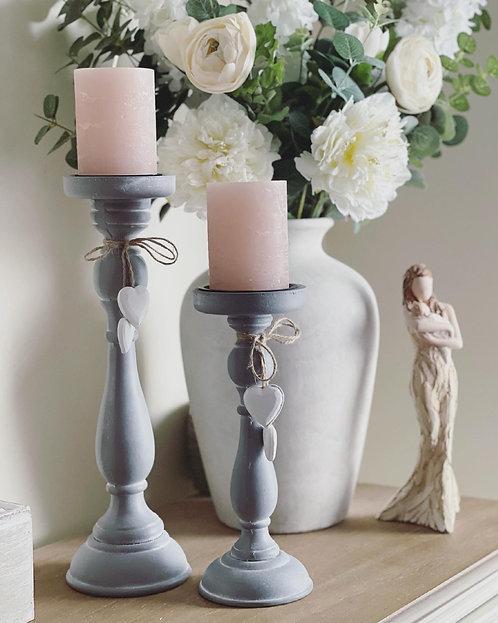 Grey Distressed Heart Pillar Candlestick Holder