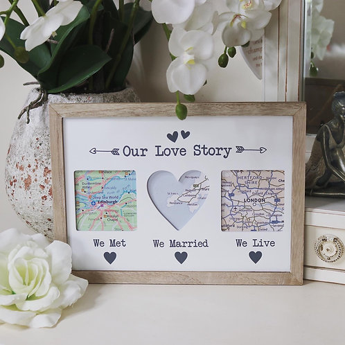 Our Love Story Triple Wooden Frame