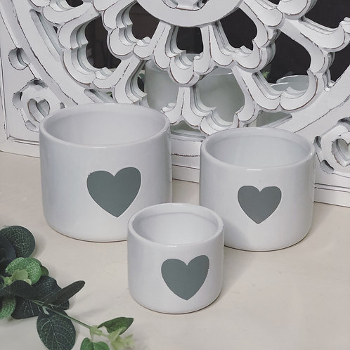 Set of 3 White Ceramic Pots with Grey Heart