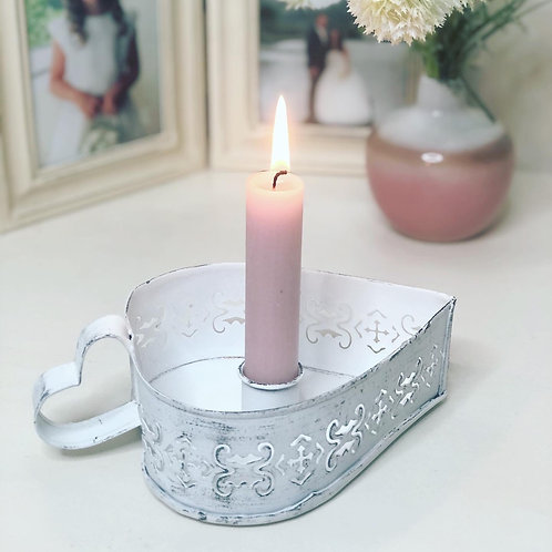 Antique White Heart Chamberstick Candle Holder