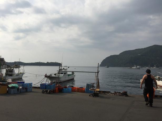漁港とモーターサイクル
