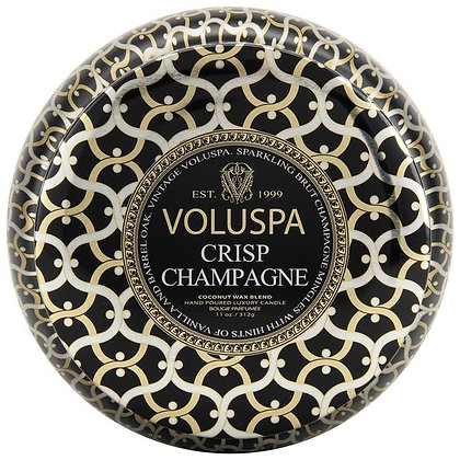 Crisp Champagne Two Wick Tin Candle