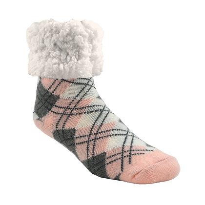 Argyle Blush- Adult Slipper Socks