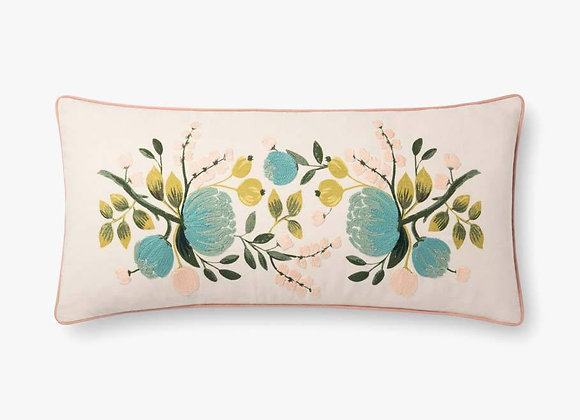 Ivory &  Blue Multi Floral Long Embroidered Pillow