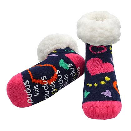 Navy Hearts- Kids Classic Slipper Socks