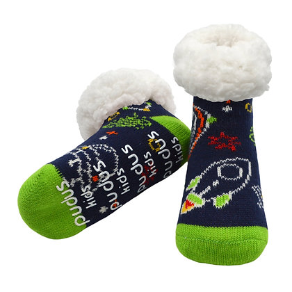 Space Navy- Kids Classic Slipper Socks