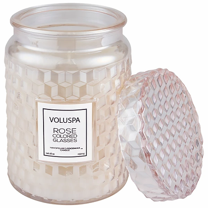 Rose Colored Glasses Glass Candle With Lid