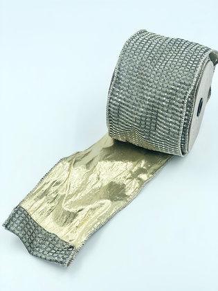 Metallic Mesh Silver/Graphite Ribbon Roll