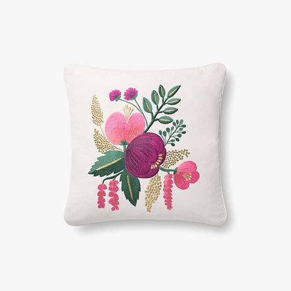 Raspberry Multi Floral Embroidered Pillow