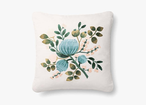 Blue Multi Floral Embroidered Pillow
