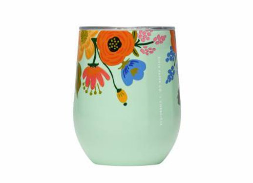 Mint Lively Floral Stemless Wine Cup