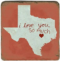 Single Marble Coaster- Love You Austin- Red