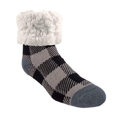 Grey Lumberjack- Adult Large Slipper Socks
