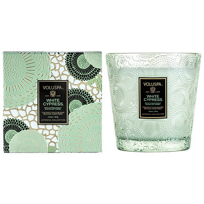 White Cypress 2- Wick Hearth Candle