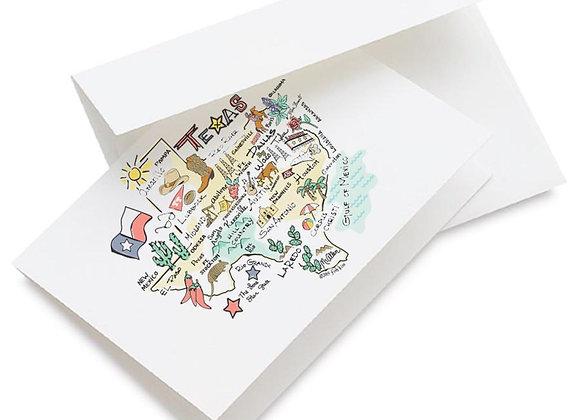 Texas Map Single Greeting Card